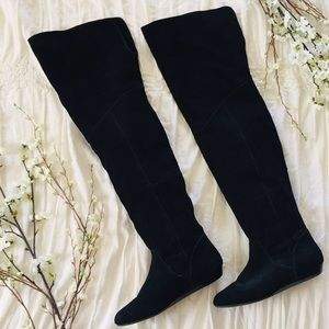 Report Over The Knee Black Suede Boots